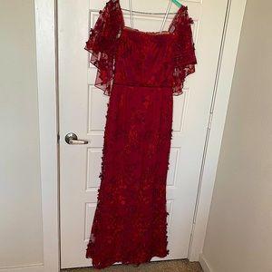 MARCHESA NOTTE RED PETAL EMBROIDERED FLUTTER SLEEVE DRESS SIZE 6